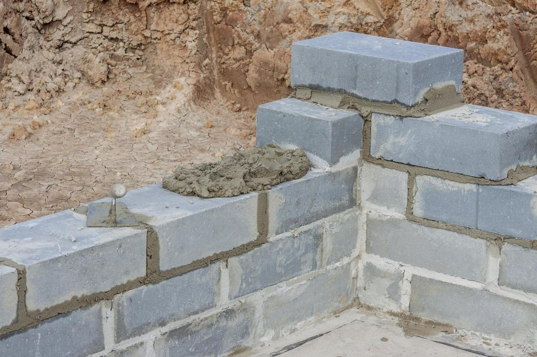 This is a picture of a block wall installation.