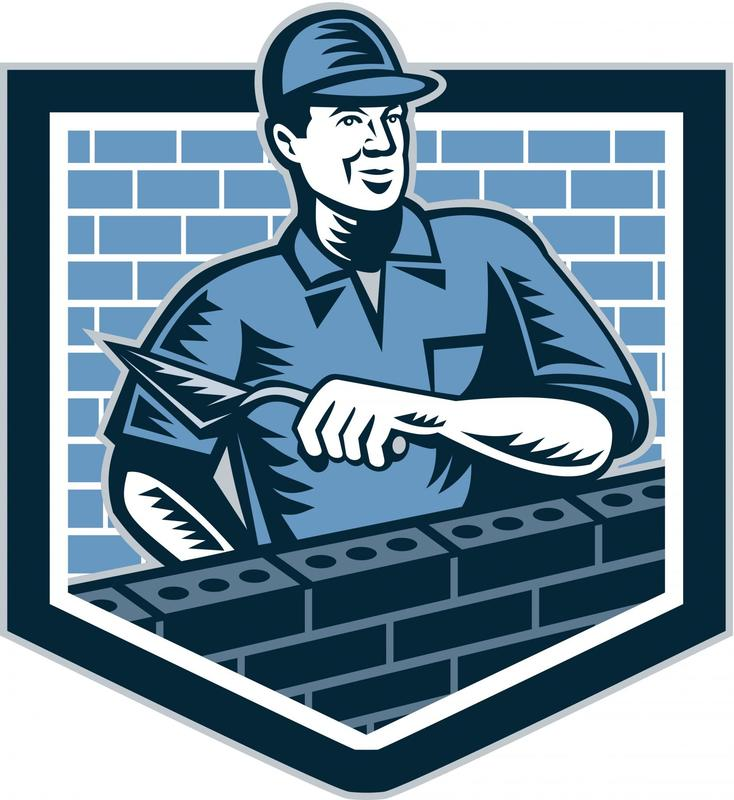 This is a picture of a company logo showing a mason paving a brick wall.