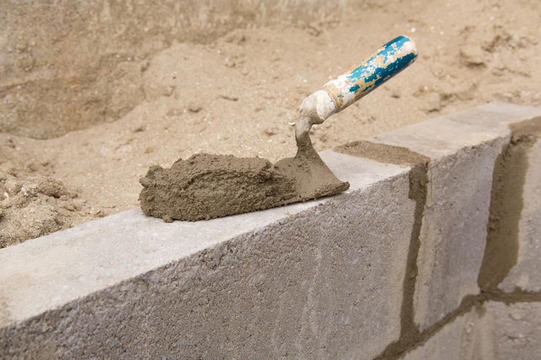 This is a picture of a new concrete block wall in San Diego.